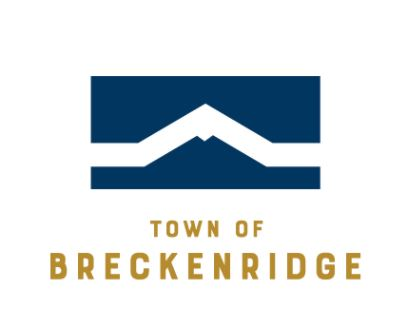 Town of Breckenridge logo with gold lettering and a blue box with the outline of a mountain in the middle