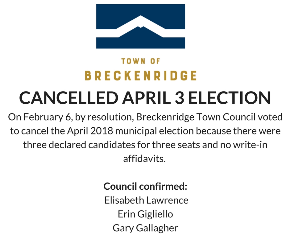 The Town of Breckenridge is Cancelling the April 3 2018 election due to three candidates running for three seats. The confirmed candidates are Erin Gigliello, Elisabeth Lawrence, and Gary Gallagher