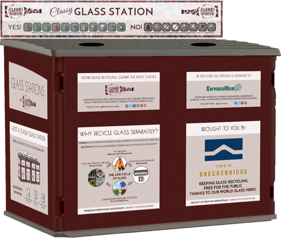 A new glass recycling station in Town that has information about recycling