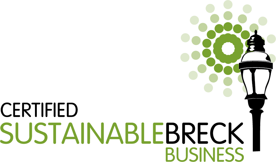 certified sustainable breck business logo with lamp and sun