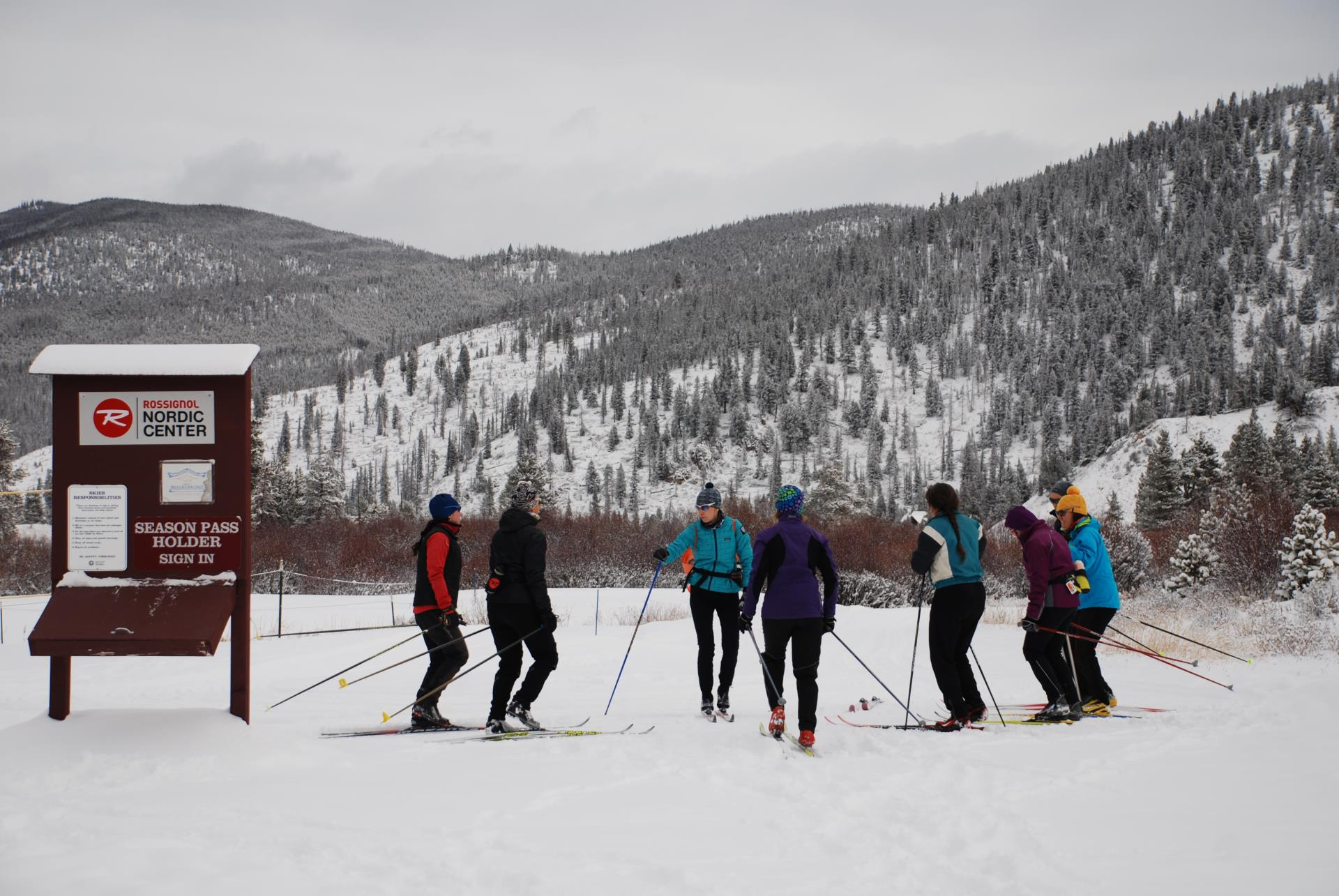 Group of five Nordic skiers in a winter mountain setting