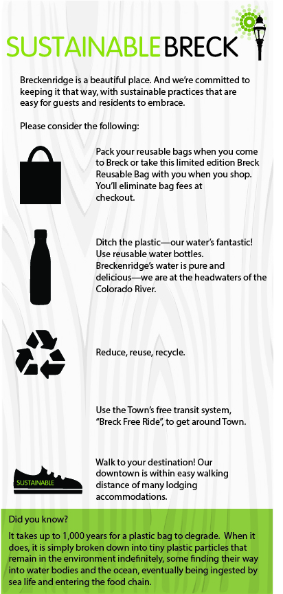 Graphic describing ways to be sustainable by carrying your own reusable bag, bringing your own water bottle, reduce, reuse, recycle, and walking to more places.