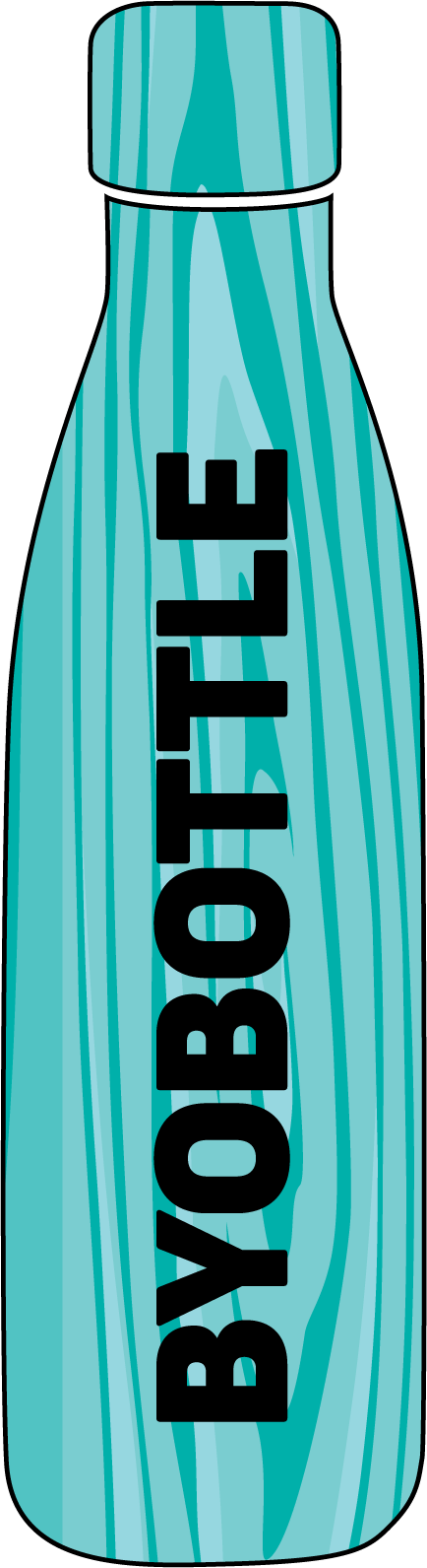 BYOB bottle campaign logo in blue
