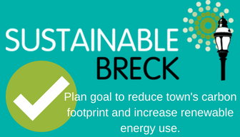 This graphic describes SustainableBreck's goal to reduce carbon footprint.